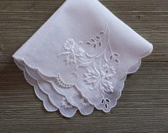 White Wedding Handkerchief, Embroidered Flowers, Vintage Hankie