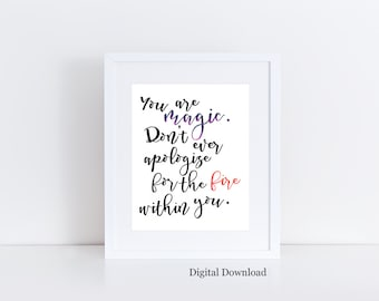 Instant Download - Magic quote - Inspirational art - Printable art - motivational quote - Bohemian wall art - Dorm Decor - Boho decor