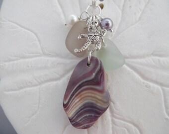 Purple Sea Glass Necklace Wampum Shell Starfish Beach Jewelry Charm Pendant Sterling