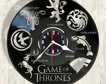Vinyl record wall clock Game of Thrones  best eco-friendly gift for any occasion