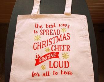 La meilleure façon de répandre Christmas Cheer - petit sac - rouge et or vinyle lettres - naturel - Noël
