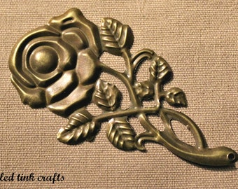 Long Stem Rose with Leaves Pendant, Die Cut & Embossed Metal, Findings, 1 piece
