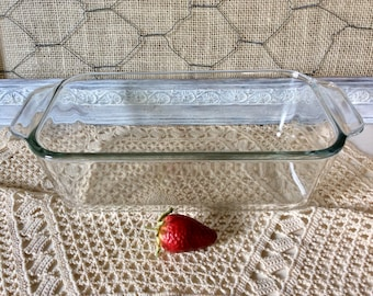 "Vintage Pyrex Clear Glass Meat Loaf Bread Pan 213-R 1.5qt with Handles 8.5"" X 4.5"" X 2.5"" Corning Ovenware Retro Clear Glass Pyrex"