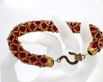 Gold and Red Netted Swarovski bicone crystals Bracelet