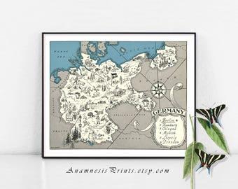 Carte de l'Allemagne, carte allemande, carte personnalisé, cadeau de mariage, cadeau pour lui, carte vintage d'Allemagne, décoration de la carte, carte de décoration murale, carte art