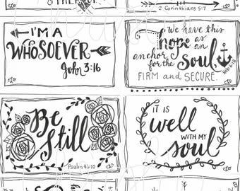 Printable Scripture cards #2 - inspirational cards - scripture memory - encouragement scripture cards - digital download