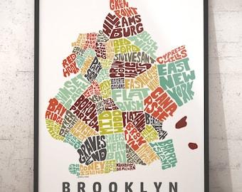Brooklyn Neighborhood Map Art Print Brooklyn wall decor