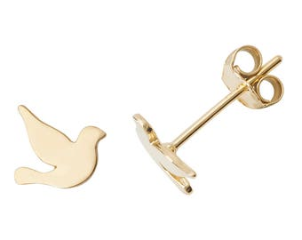 9ct Yellow Gold Pretty Dove Bird Stud Earrings