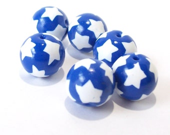 White Stars on Blue Round Beads Handmade from Polymer Clay