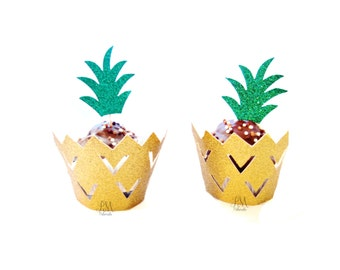 12 Pineapple Cupcake Wrappers & Cupcake Toppers Set - Pineapple Party,Tropical Party, Pineapple Cupcakes, Cupcake Wrappers