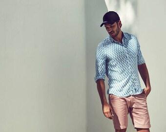 Grey Talisman Cotton Shirt / Mens Shirts / Ibiza Style / Summer Long Sleeve Designer Shirt / Husband Gift / Boyfriend Gift / Surf Sea Sand 6onqr52Tf