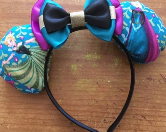 Frozen inspired Mickey/Minnie Disney ears featuring Anna and Elsa
