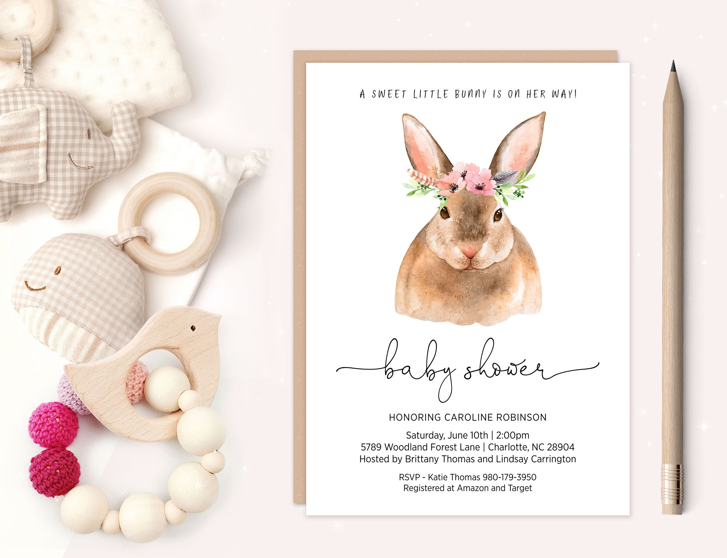 klys baby invitations floral invite invitation listing girl il pink gold and shower umbrella bunny sprinkle fullxfull