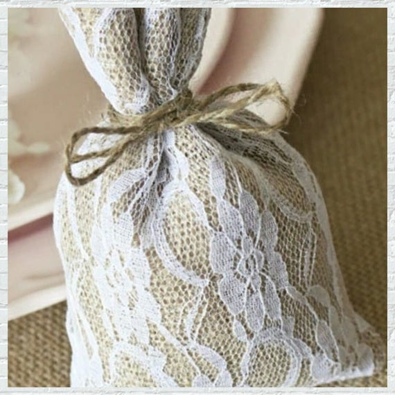 Pack of 50 Hessian Lace Burlap Gift Bag 10x15cm (3.5