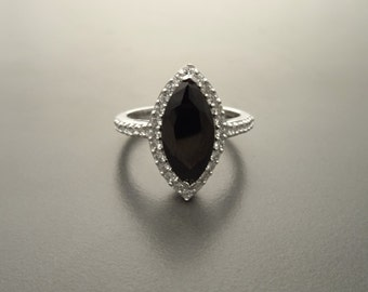 Black Diamond Marquise Ring, Halo Ring, Lab Diamonds, Sterling Silver, Engagement Ring, Pave Ring, Cluster Ring, Wedding Ring Valentines Day