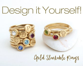 Design your Own Gold Stackable Ring Set! Initial Stacking Rings and Birthstone Stack Rings. 24K Gold Vermeil with Initials and Birthstones.