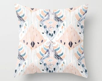 Pastel Ikat Pillow Soft Pink Ikat Accent Pillow Pink Gray Blue Painted Ikat Fabric Tribal Print Ethnic Pillow Covers Boho Accent Pillows