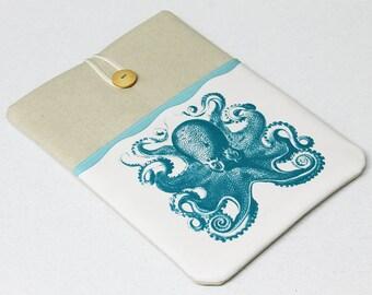 14 in Laptop Sleeve, Turquoise Octopus Laptop cover, Custom Size Laptop case, 15 in, 13 in, 11 in, Sea Monster, Kraken laptop sleeve