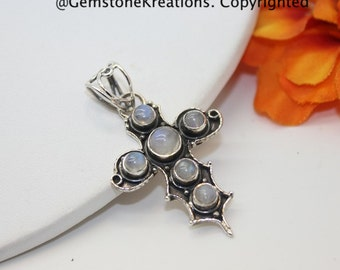 Moonstone Pendant, Moonstone Cross Necklace, Moonstone Jewelry, Rainbow Moonstone, Sterling Silver Pendant