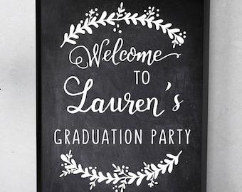 GRADUATION Party WELCOME SIGN-Printable- Graduation decor, grad party decor, high school college grad, class of 2018