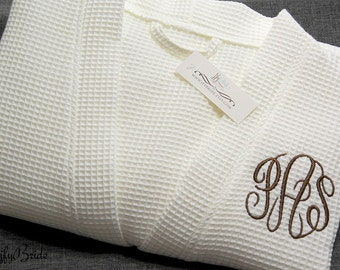 Monogrammed Robe, Waffle Weave Robe, Personalized Robe, Cotton Anniversary Gift for him, Second Anniversary, 1707 MC