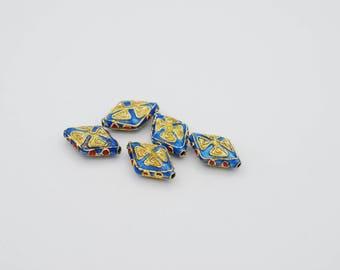 12x20mm Flat Diamond Shape Cloisonne bead, Sold by 10 pcs.