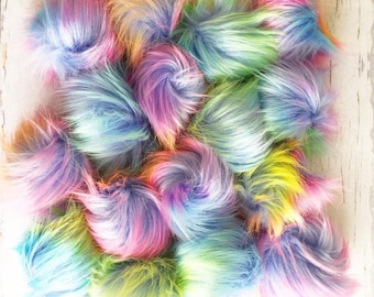 Faux Fur Pompom, Rainbow Pompom, Unicorn Pompom, Knitting Supplies, Crochet Supplies, Pom Poms,