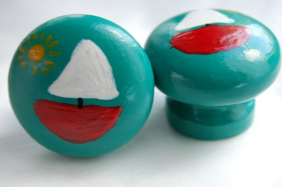 Green Sail Boat Drawer Knob, Cupboard Handle Hand Painted 3 Sizes Available 30mm, 40mm, 53mm