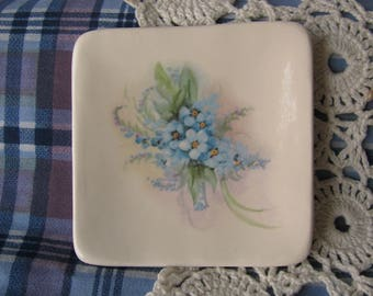Small Square Dish with Blue Forget-Me-Nots Design Ceramic Teabag Holder, Spoon Rest or Trinket Dish