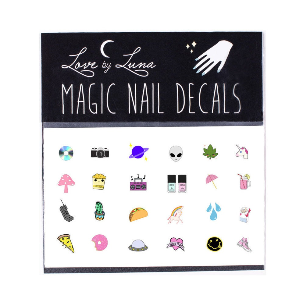 90\'s Nail Decal / Cute Nail Decal / Alien Nail Decal /