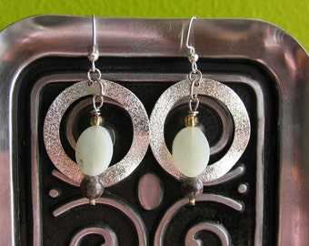 Silver Hoop Agate and Jade Earrings and Necklace Set