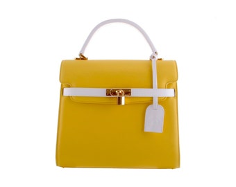 KENDRA, size 'M' // leather handbag, in yellow-white (italian calf leather) - FREE shipping