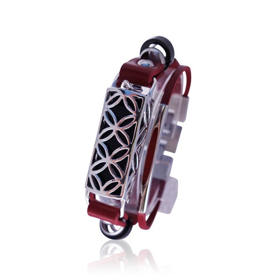 Flex Bracelet FUSION - RED/ Silver -  made from 925 sterling silver and leather