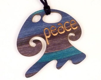 Peace Piece #584,016 (Purple, Blue and Teal with Peace in English )