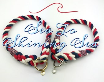 Sea To Shining Sea - Red White & Blue Rope Collar, Dog Collar, Slip Collar, Training Collar