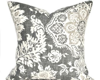 One high quality Magnolia pillow cover, Slate grey pillow, cushion, decorative throw pillow, decorative pillow, Charcoal grey Pillow