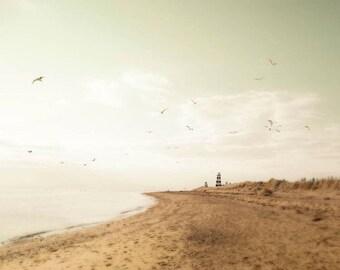 Pastel Beach Photography, Lighthouse Art, Outdoors Gift, Brown, Pastel Beach Decor, Mint Green Ocean