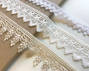 Off White, Natural 3 Various Width and Shape Cotton Lace Trim