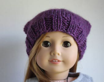 Purple Slouchy Doll Hat For American Girl Dolls/ag Dolls 18 Inch