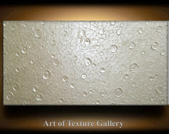 Abstract Texture Painting 72 x 36 Original Modern Huge White Metallic Pearl Sculpture Impasto Oil by Je Hlobik