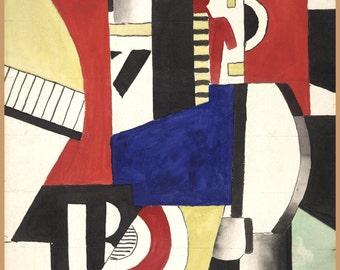 Modern Art Reproduction:  Fernand Leger - Study for La Ville, 1919. Fine Art Reproduction.