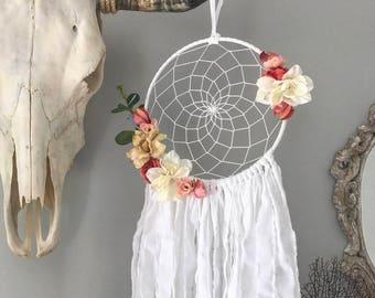 Dream Catcher - Dreamcatcher - Dream Catcher Wall Hanging - Flower Decor - Floral Dreamcatcher - Boho Decor
