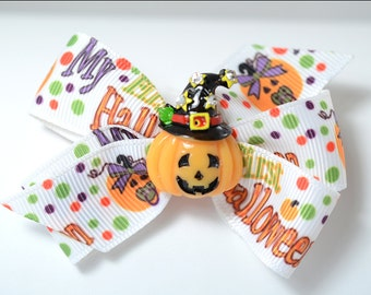 My First Halloween Hair Bow, Babies First Halloween Hair Bow, Jack O Lantern, Witch Hat