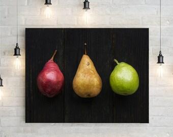 pears // food photography print // kitchen decor // dining room // canvas art // canvas print // rustic farmhouse wall art