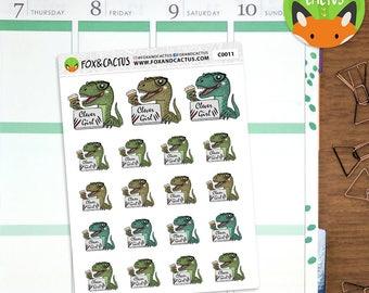 Clever Girl Velociraptors - Velociraptor Work Study Laptop Dinosaur - Planner Stickers (C0011)