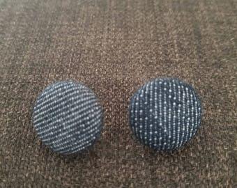 Denim Button Earrings
