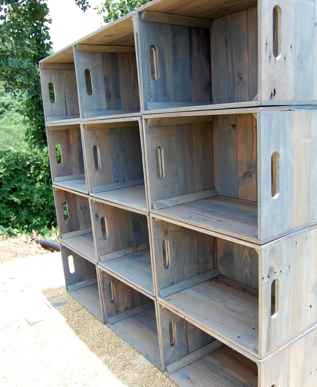 Dozen Wooden Crates Wall Unit Bookcase Storage Crate # Muebles Con Uacales