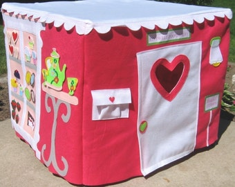 The CupCakery Card Table Playhouse, White Scalloped Roof, Brighter Colors, Custom Order, Personalized, 40 removable and replaceable pieces