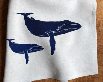 Blue Whales Screen Printed onto 100% Natural  Linen,Humpback,Hostess  Gift
