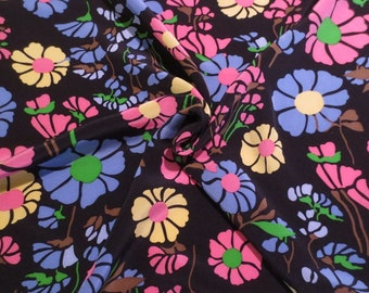 SPECIAL--Colorful Floral on Midnight Blue Print Pure Silk Crepe de Chine Fabric--BY THE Yard